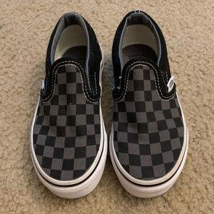 Kids Black and grey checkerboard vans